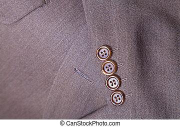 fragmento, hombres, arriba, traje, cierre, lana