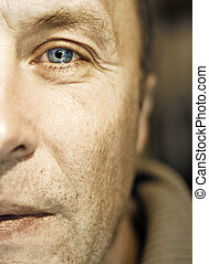 fragmento, homem, middle-aged, rosto