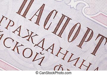 fragmento, página, russo, passaporte, textura, tintas, alto,...