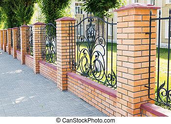 fragmento, tijolo, forjado, cerca, grille
