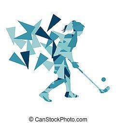 fragments, femme, hockey, fait, joueur, illustration, polygone, résumé, floorball, rue