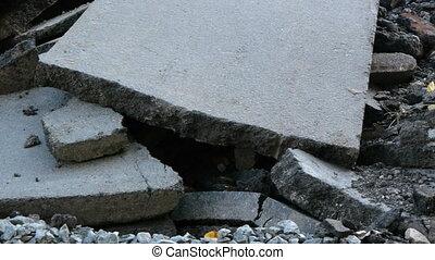 Fragments of asphalt