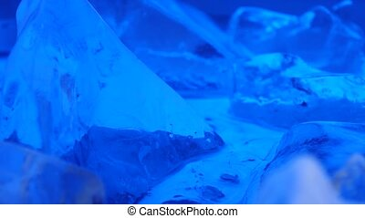 Fragments of ice, the light parades it. Close up - Fragments...