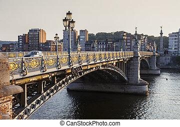 Fragnee Bridge in Liege. Liege, Wallonia, Belgium.