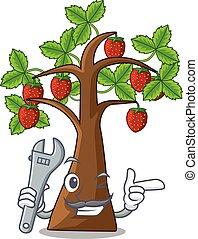 fragola, albero, isolato, meccanico, cartone animato
