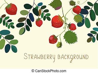 fragola, fondo, con, foglie, e, frutte