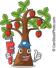 fragola, idraulico, albero, isolato, cartone animato