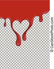 fragola, illustrazione, ketchup, fondo., vettore, sangue, ...