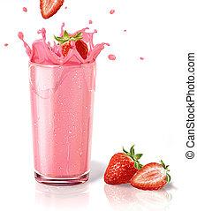 fragole, gli spruzzi, in, uno, milkshake, vetro, con, due, straberries, su, il, floor., bianco, fondo, e, riflessione, su, surface.