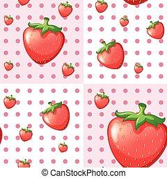 fragole, seamless, fondo, rosso