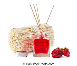 Fragrance Diffuser Set of bottle with aroma sticks (reed diffusers) creative photo.
