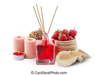 Fragrance Diffuser Set of bottle with aroma sticks reed diffusers. creative photo.