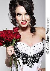 fragrance., hermoso, mujer joven, tenencia, ramo, de, rojo, roses., día de valentín