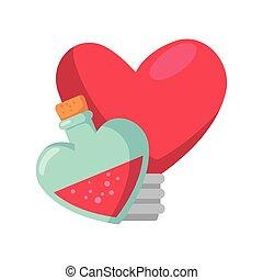 fragrance with light bulb in heart shape