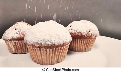 fragrant cake sprinkled with powdered sugar. slow motion -...