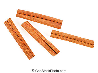 Fragrant cinnamon sticks isolated on white background, top view.