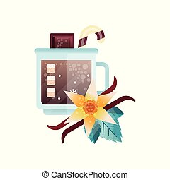 Fragrant cocoa drink with spices in glass mug vector Illustration on a white background