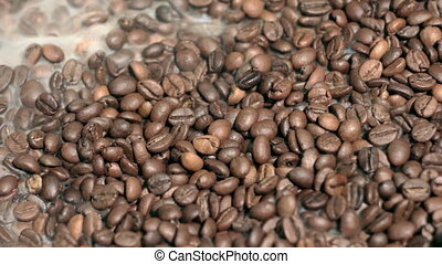 Fragrant fried coffee beans. - Fragrant fried coffee beans...