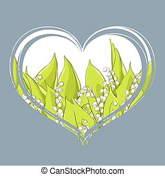 Fragrant lily of the valley in the heart on a blue...