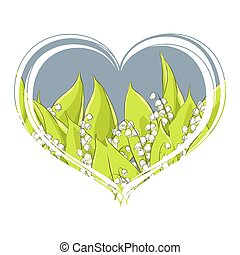 ??????Fragrant lily of the valley in the heart on a white  background
