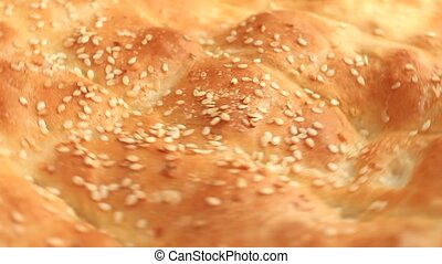 fragrant pita bread with sesame seeds