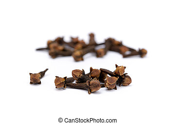 Fragrant spices cloves isolated on white background.