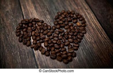 fragrante, caffè, cuore