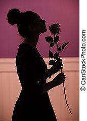 fragrante, donna, rosa