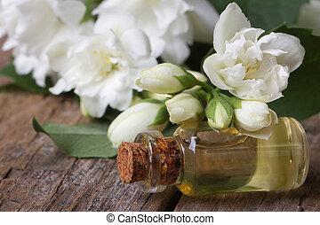 fragrante, olio, di, gelsomino, fiori, macro, horizontal.