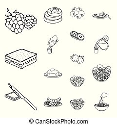 fragrante, set, contorno, icone, cibo, dessert, simbolo,...