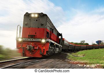 fragt tog, lokomotiv, bær, hos, last