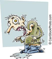 Frail Man - A haggard, frail cartoon man.
