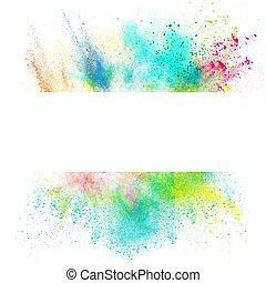 frais, éclaboussure, bannière, effet, coloré