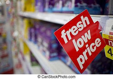 frais, étiquette prix, bas