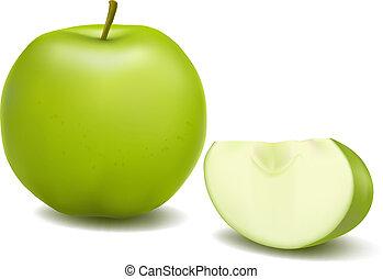 frais, apple., vector., vert