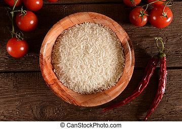 frais, bambou, riz, bol, basmati