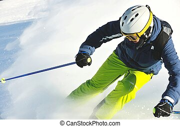 frais, beau, neige, saison, ensoleillé, ski, hiver, jour