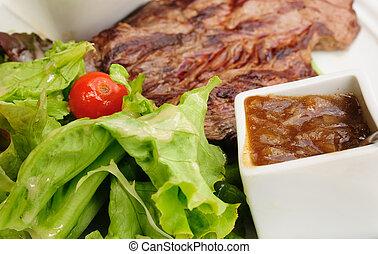 frais, bifteck, juteux, salade