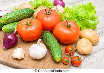 frais, bois, légumes, haut, planche découper, fin, table