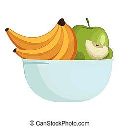 frais, bol, dessin animé, fruits