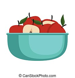 frais, bol, pommes, fruits