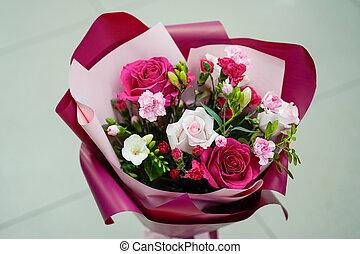 frais, bourgogne, papier rose, fleurs, bouquet, clair