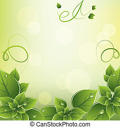 frais, cadre, vecteur, feuilles vertes