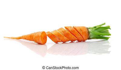 frais, carotte, coupure, fruits