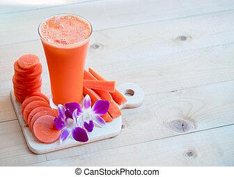 frais, carotte, fleur, jus
