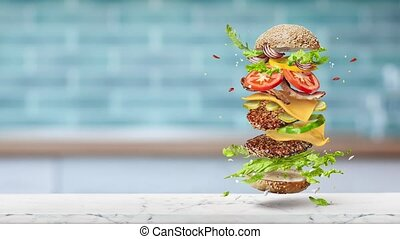 frais, cheeseburger, fait maison, ingredients., grand, voler