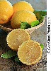 frais, citron, à, feuilles