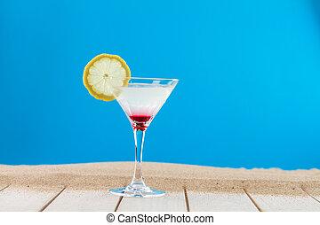 frais, citron, cocktail, martini