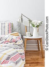 frais, clair, décor, chambre à coucher