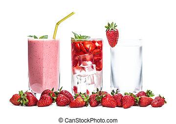 frais, closeup, cocktail, fraise